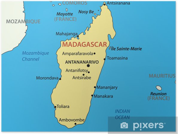 Madagaskar Karte.Poster Republik Madagaskar Vektor Karte