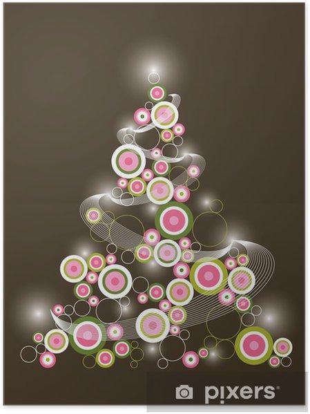 Albero Di Natale Rosa.Poster Retro Cerchio Rosa Verde Albero Di Natale