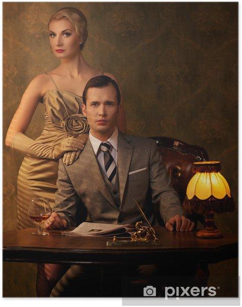 Poster Retro Paar sitzt hinter Tisch. - Haus und Garten