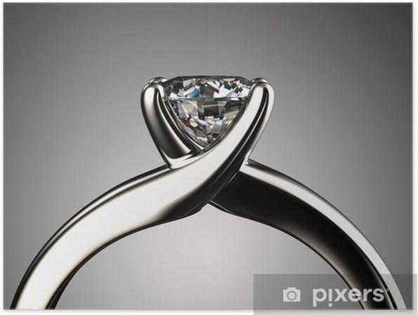 Poster Ring mit Diamanten auf grauem Hintergrund isoliert - Für Juwelier