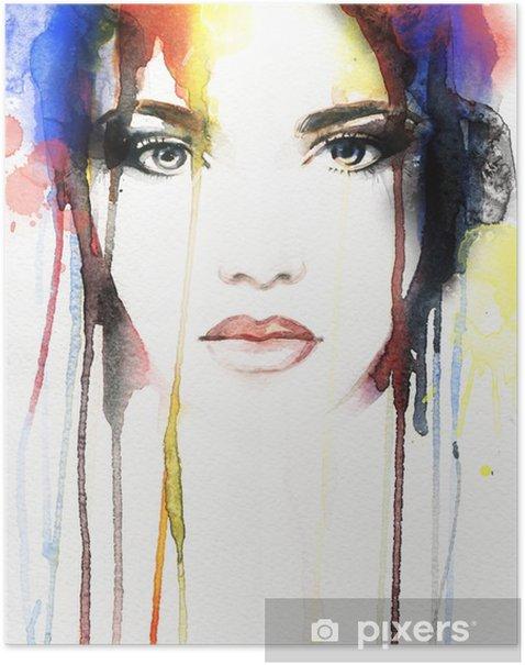 Poster Ritratto di donna. acquerello astratto - Persone