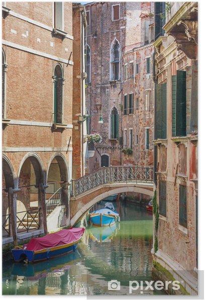 Poster Romantische Kanal und Brücke in Zentrum von Venedig, Italien - Europa