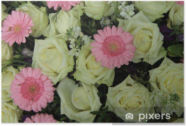 Poster Rosa Gerbera Und Weissen Rosen Hochzeit Blumen Pixers