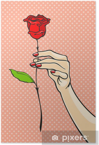 Poster Rose in der Hand - Themen