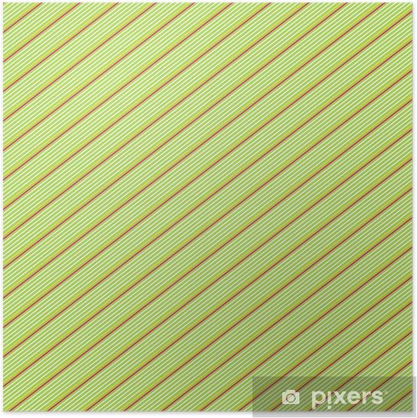 Poster Rosso E Bianco Gessato Diagonale Su Sfondo Verde