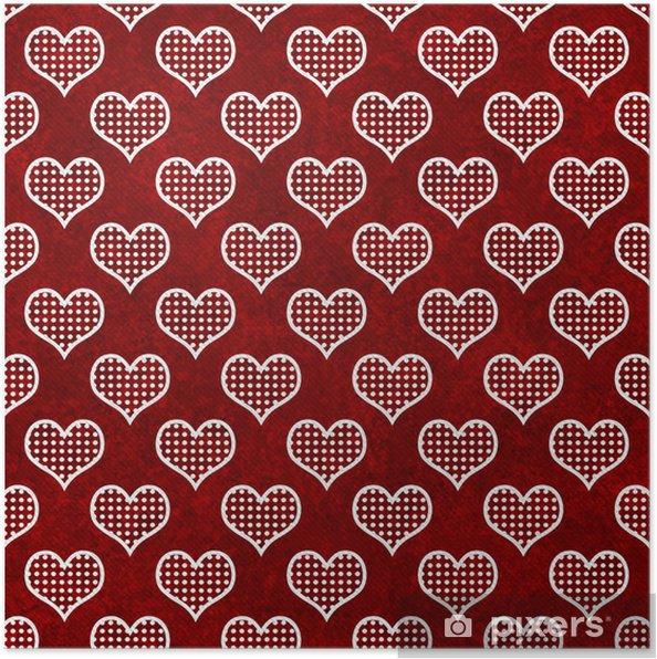 Poster Rosso Pois Bianchi E Cuori Giunte Di Ripetizione Di Sfondo