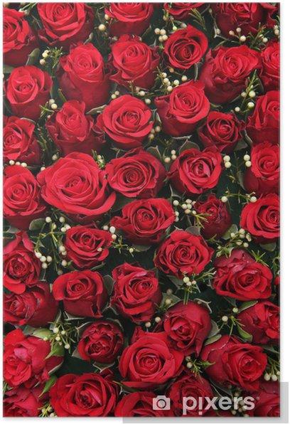Poster Rote Rosen und kleinen weißen Beeren - Feste