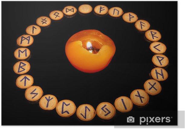 Poster Runen mit Kerze - Esoterik