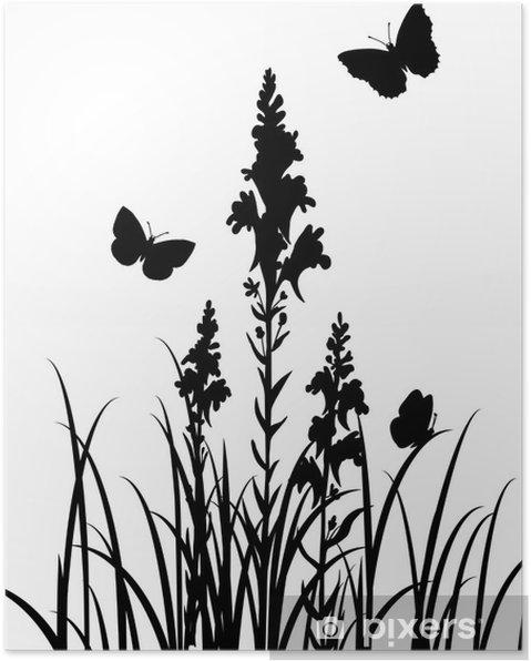 Poster Sagome Di Fiori E Farfalle Pixers Viviamo Per Il