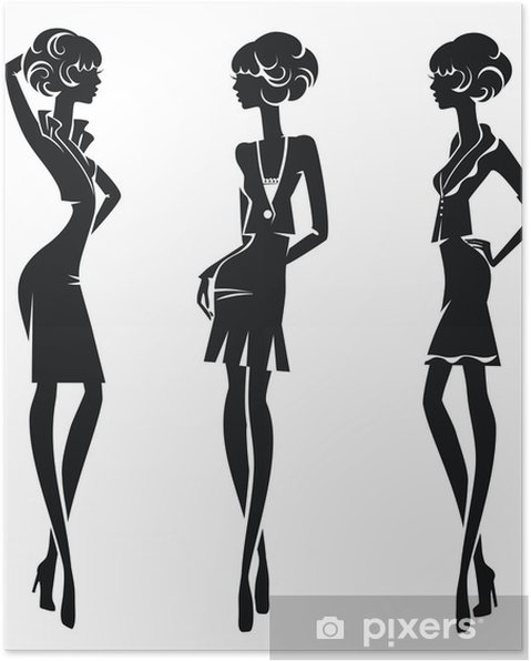 Sagome Stilizzate Di Persone.Poster Sagome Stilizzate Di Tre Ragazze In Costumi