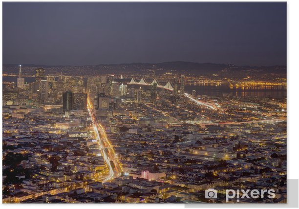 Poster San Francisco in der Nacht - Amerikanische Städte