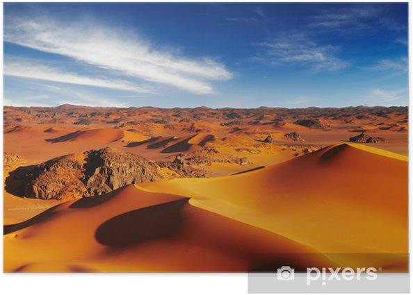 Poster Sanddünen der Sahara-Wüste, Tadrart, Algerien - Wüsten