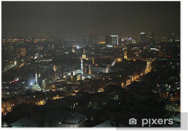 Poster Sarajevo bei Nacht - Europa
