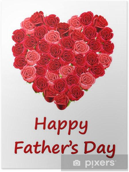Poster Scheda Di Giorno Del Padre Felice Con Un Cuore Rosso