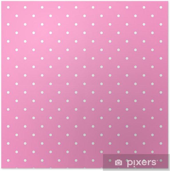 Poster Schema Di Posa Vettoriale Con Pois Bianchi Su Sfondo Rosa