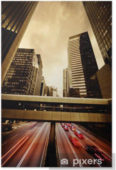 Poster Schnell fahrende Autos in der Nacht - Straßenverkehr