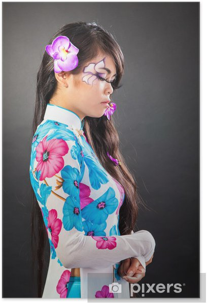 Poster Schöne asiatische Frau mit Fashion Make-up - Frauen