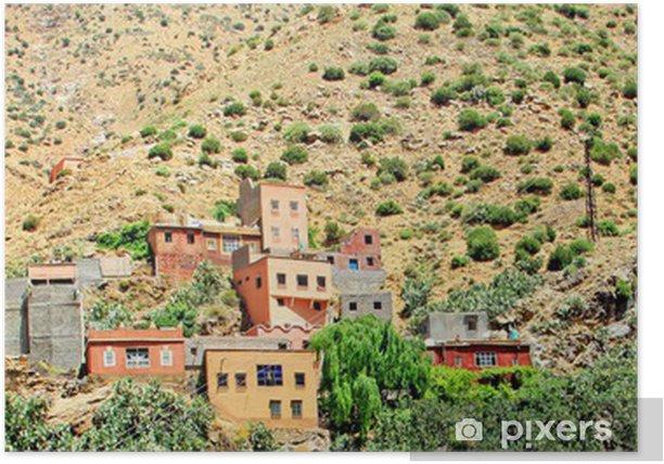 Poster Schöne Aussicht auf Berge (Atlas-Gebirge, Marokko) und ein vil - Private Gebäude