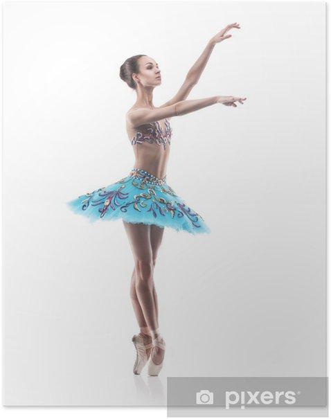 Poster Schöne Ballett-Tänzerin isoliert - Ballett