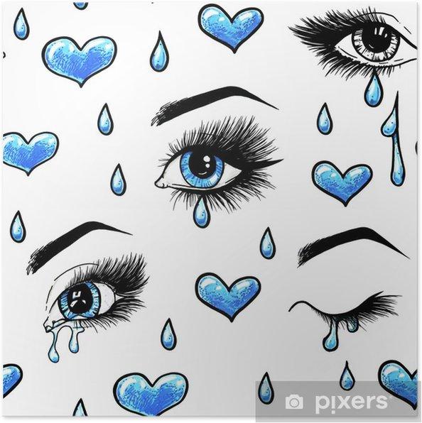 Poster Schöne Offene Weibliche Blaue Augen Mit Langen Wimpern Ist