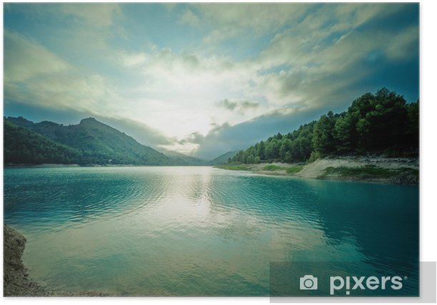 Poster Schöner See in der Abenddämmerung - Urlaub