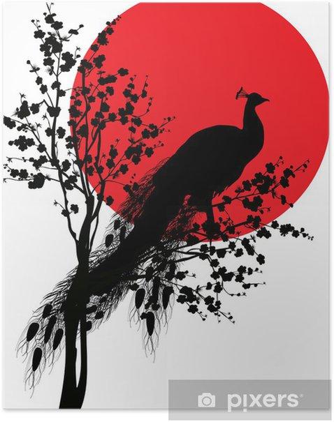 Poster Schwarz pfauen Silhouette bei rote Sonne auf weißem - Vögel