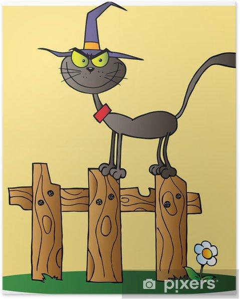 Poster Schwarze Katzen Hexe Cartoon Charakter Auf Einem Zaun