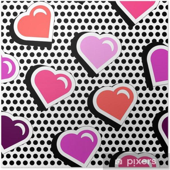 96ad06fc1b Poster Seamless con cuori di forma distintivo colorato su sfondo nero  dotty. illustrazione vettoriale con adesivi cuore in stile fumetto degli  anni ...