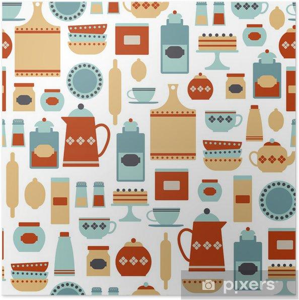 Poster Seamless con oggetti da cucina d\'epoca • Pixers® - Viviamo ...