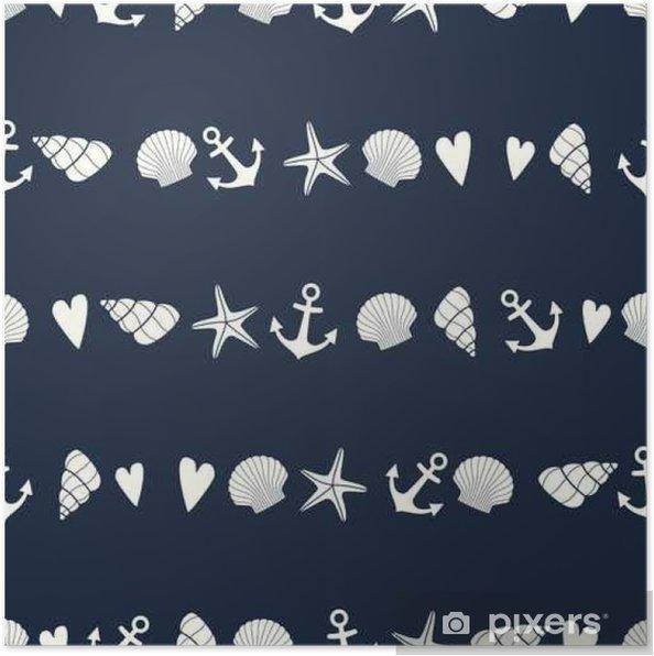 Poster Seamless Nautico Con Stelle Marine Conchiglie E Di