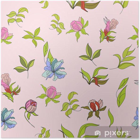 Poster Seamless Wallpaper Con Fiori Su Sfondo Rosa