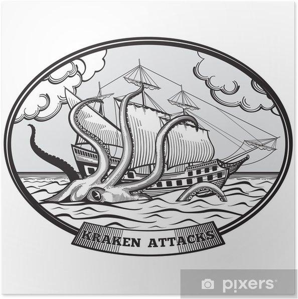Poster Segelschiff und Kraken Monster Krake Vektor Emblem in Hand gezeichnet Stil - Zeichen und Symbole