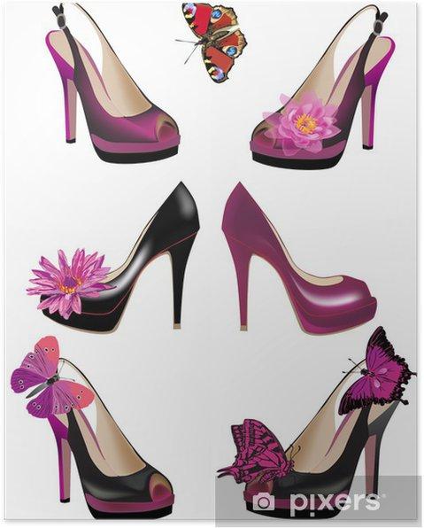 6c2b0b8d07 Poster Serie di scarpe con fiori e farfalle