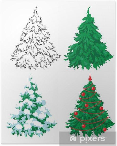 Poster Set Di 4 Abeti Disegno A Mano Un Abete Verde Un Abete