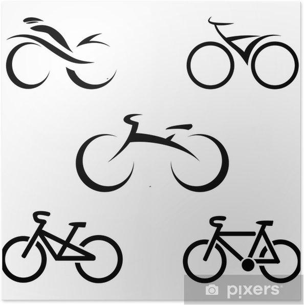 Poster Set Di Icone Con Le Bici Stilizzate Illustrazione Vettoriale
