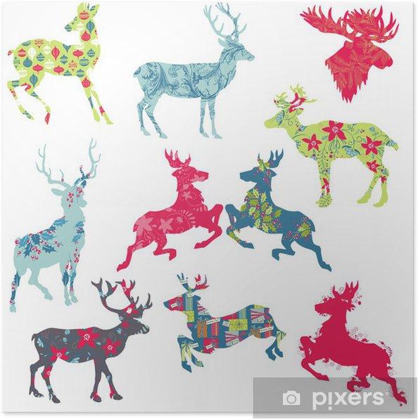 Poster Set Di Sagome Di Natale Renna Per Il Vostro Disegno O