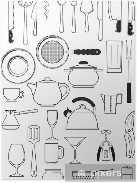Poster Set di utensili da cucina • Pixers® - Viviamo per il cambiamento