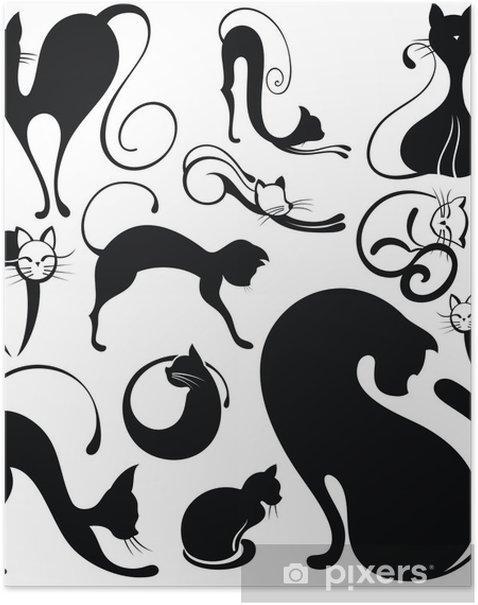 Poster Set Katze Silhouetten - Bereich