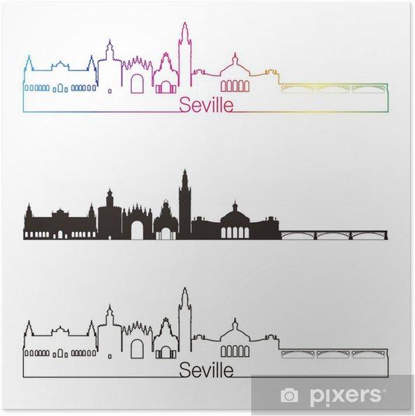 Poster Sevilla V2 Skyline linearen Stil mit Regenbogen - Stadt