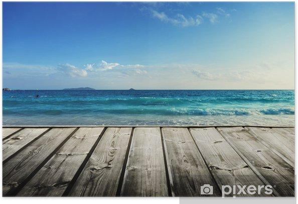 Poster Seychellen Strand und Holzsteg - Wasser