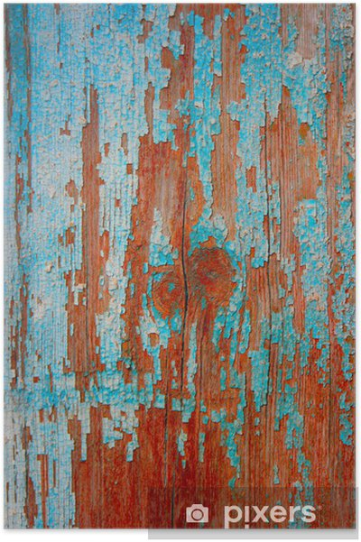 Poster Sfondo Blu Di Legno Tavole Verniciate Esposte Allaria