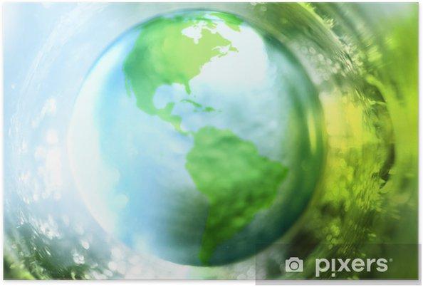 Poster Sfondo Blu E Verde Terra Pixers Viviamo Per Il Cambiamento