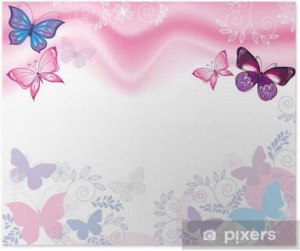 Poster Sfondo Con Fiori E Farfalle Pixers Viviamo Per Il