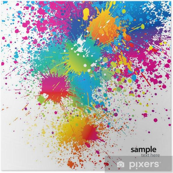 Poster Sfondo Con Macchie Di Colore E Spray Su Uno Sfondo Bianco