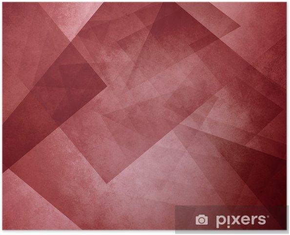 Poster Sfondo Del Triangolo Rosso Eleganti Strati Di Blocchi E Forme Triangolari In Ordine Casuale Colore Rosso Bordeaux