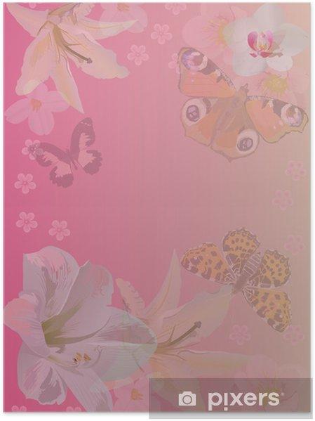 Poster Sfondo Rosa Con Farfalle E Fiori Pixers Viviamo Per Il