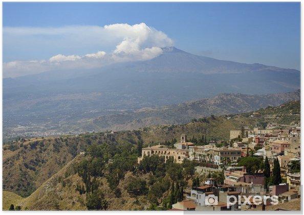 Poster Sicilia, Italia, con l'Etna - Montagne