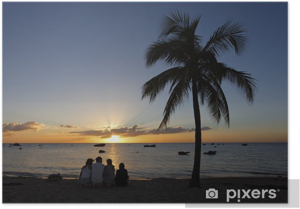 Poster Silhouette al tramonto, nel Mar dei Caraibi - Cielo