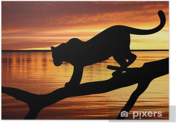 Poster Silhouette von Leopard auf einem Ast auf Sonnenuntergang Hintergrund - Themen