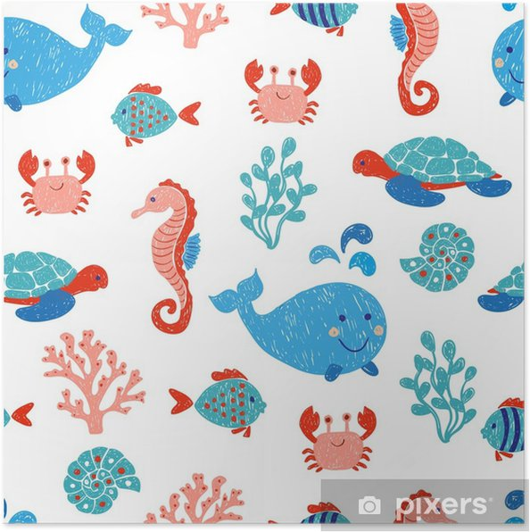 Cavalluccio Marino Disegno Bambini.Poster Simpatici Animali Marini Seamless Nei Colori Blu E Rosa